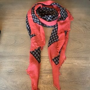 Coral and Navy Scarf